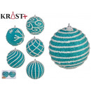 set of 2 christmas balls 10cm blue, 6 times south