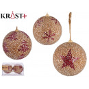 set of 2 christmas balls 10cm red snowflakes