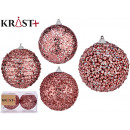 set of 2 christmas balls 10cm shiny pink