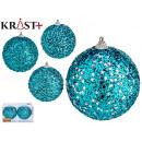 set of 2 christmas balls 10cm shiny blue