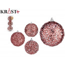 set of 3 christmas balls 8cm bright pink south
