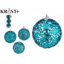 set of 3 christmas balls 8cm bright blue south