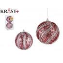 set of 2 christmas balls pvc 10cm pink reliev