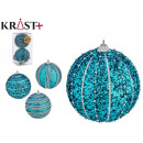 set of 2 christmas balls 10cm blue relief assortme