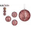 set of 3 christmas balls pvc 8cm pink relief