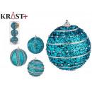 set of 3 christmas balls 8cm blue embossed su
