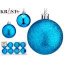 set of 8 blue christmas balls 6cm