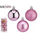 set of 24 christmas balls 5cm pink assorted