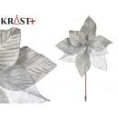 flower fabric christmas 30cm silver
