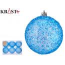 set of 6 blue christmas balls 8cm