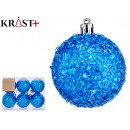 set of 6 blue christmas balls 6cm