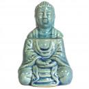 Großhandel Duftlampen: Sitzender Buddha Ölbrenner - Blau