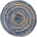 groothandel Tapijt en vloerbedekking: Rond tapijt van jute en recycle denim - 90 cm