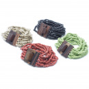 wholesale Jewelry & Watches: Multi-Bead Bangle Wooden Clasp - Asst Colours