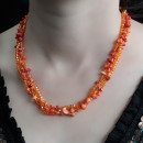 wholesale Beads & Charms: Chipstone & Bead Necklace - Orange Coral