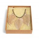 ingrosso Catenine: Set collana e orecchini - foglia di coraggio - oro