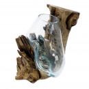groothandel Woondecoratie: Gesmolten glas op hout - hangende kom