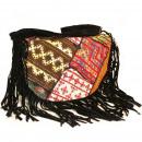 wholesale Bags & Travel accessories: Patchwork & Black Velvet Suede - Fringe Bag