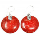 wholesale Jewelry & Watches: Coral Style 925 Silver Earring - Disc Disc Décor