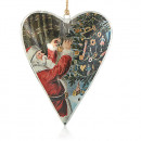 wholesale Decoration: Vintage Large Heart - Santa & Christmas Tree Baubl