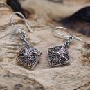 wholesale Earrings: Silver & Gold Earring - Square Drop
