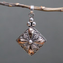 wholesale Beads & Charms: Silver & Gold Pendant - Square Drop
