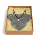 wholesale Necklaces: Necklace & Earring Set - Heart Leaf - Pewter