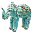 wholesale Car accessories: Wood Carved Elephant - Turquois Gold