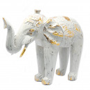 wholesale Car accessories: Wood Carved Elephant - White Gold