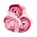 grossiste Cadeaux et papeterie: 6xSet de 3 Boîte Coeur Fleur De Savon - Roses Rose