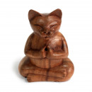 wholesale Car accessories: Wooden Carved Incense Burners - Lrg Yoga Cat