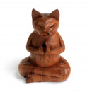wholesale Car accessories: Wooden Carved Incense Burners - Med Yoga Cat