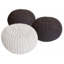 wholesale Small Furniture: Pouf Stool SET 3 pieces Chunky knit Opti