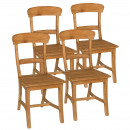 Dining Chairs SET Tanja 4 pieces with wooden seat