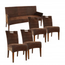 Bench and 4 wicker chairs SET Bilbao vollgepols