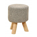 Stool Knit stool Pouf stool with wooden feet