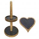 wholesale Decoration: Etagere Set with 1 Knabber plate heart Mango wood