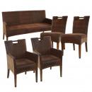 Rattan-SET Banc de Bilbao avec 2 chaises en rotin