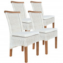 Zestaw krzeseł Rattanowy Perth 4 sztuki biały, sie
