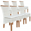 wholesale Garden & DIY store: Rattan chair set Perth 6 pieces white, seat cushio