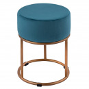 Velor stool Velvet stool with gold-colored iron fr