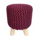 Sitzhocker Strick-Hocker Pouf Schemel mit Holzfüße