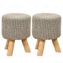 Stool set 2 pieces knitted stool pouf stool