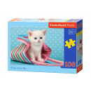 108 Puzzle  elements White Cat in Bag