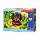 Puzzle 180 articoli cucciolo in giallo