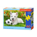 Puzzle of 60 elements White Terrier and Football