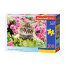 Puzzle 100 elementów KITTEN IN FLOWER GARDEN