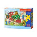 Puzzle MIDI 35  Elemente: grüne Lokomotive