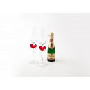 grossiste Lunettes: Champagne Glass Set avec Red Heart