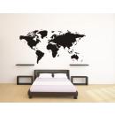 groothandel Woondecoratie: Wereldkaart Muursticker - Zwart